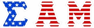 "Sigma Alpha Mu Giant 4"" American Flag Greek Letter Sticker"