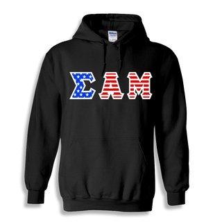 Sigma Alpha Mu Greek Letter American Flag Hoodie