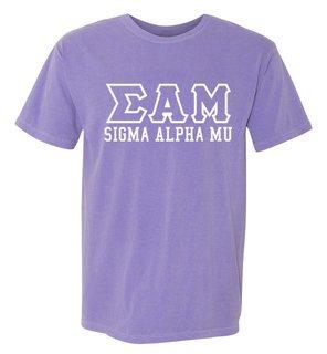 Sigma Alpha Mu Greek Outline Comfort Colors Heavyweight T-Shirt