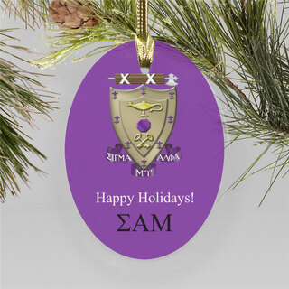 Sigma Alpha Mu Holiday Color Crest - Shield Ornament