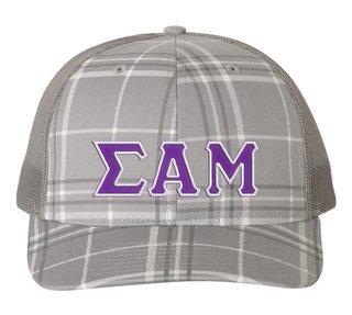 Sigma Alpha Mu Plaid Snapback Trucker Hat - CLOSEOUT