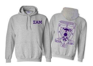 Sigma Alpha Mu World Famous Crest - Shield Printed Hooded Sweatshirt- $35!