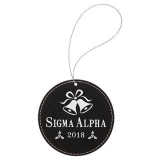 Sigma Alpha Leatherette Holiday Ornament