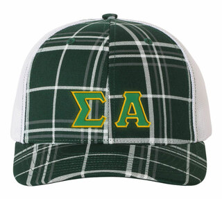 Sigma Alpha Plaid Snapback Trucker Hat