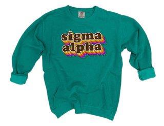 Sigma Alpha Retro Maya Comfort Colors Crewneck Sweatshirt