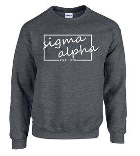 Sigma Alpha Script Box Crewneck Sweatshirt