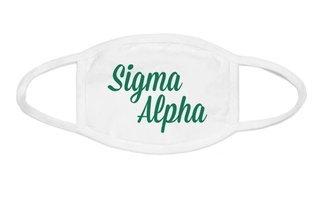 Sigma Alpha Script Face Mask