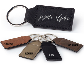 Sigma Alpha Script Faux Leather Keychain