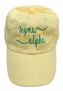 Sigma Alpha Script Hearts Ball Cap