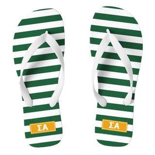 Sigma Alpha Striped Flip Flops