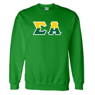 Sigma Alpha Two Tone Greek Lettered Crewneck Sweatshirt