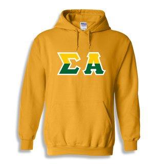 Sigma Alpha Two Tone Greek Lettered Hooded Sweatshirt