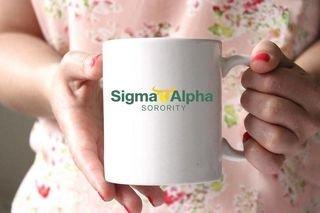 Sigma Alpha White Mascot Coffee Mug - Personalized!