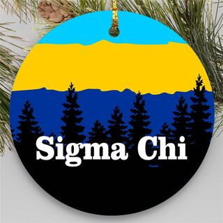 Sigma Chi Christmas Mountains Round Ornaments