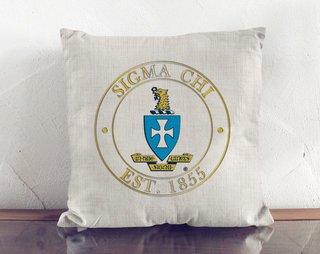 Sigma Chi Crest Linen Pillow