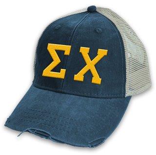 Sigma Chi Distressed Trucker Hat