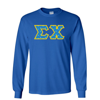 Sigma Chi Fraternity Crest - Shield Twill Letter Longsleeve Tee