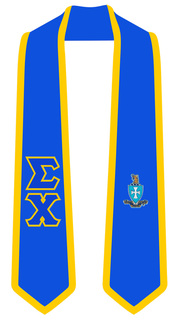 Sigma Chi Greek 2 Tone Lettered Graduation Sash Stole