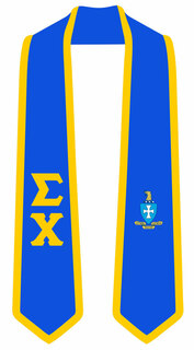 DISCOUNT-Sigma Chi Greek 2 Tone Lettered Graduation Sash Stole