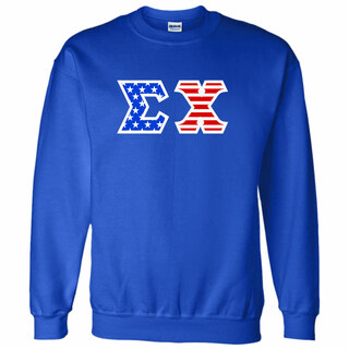 DISCOUNT-Sigma Chi Greek Letter American Flag Crewneck
