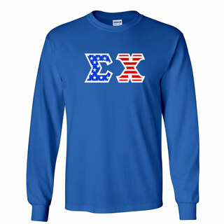 DISCOUNT-Sigma Chi Greek Letter American Flag long sleeve tee