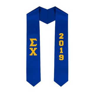 Sigma Chi Greek Lettered Graduation Sash Stole With Year - Best Value