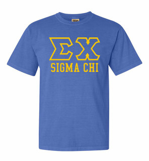 Sigma Chi Greek Outline Comfort Colors Heavyweight T-Shirt