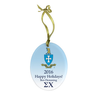 Sigma Chi Holiday Color Crest - Shield Glass Ornament
