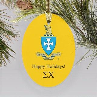 Sigma Chi Holiday Color Crest - Shield Ornament