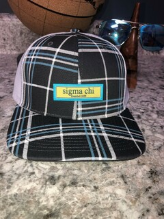 Sigma Chi Preppy Patch Plaid Snapback Trucker Hat - CLOSEOUT