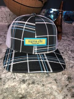 Sigma Chi Preppy Patch Plaid Snapback Trucker Hat