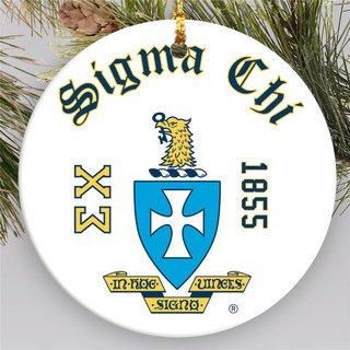 Sigma Chi Round Christmas Shield Ornament
