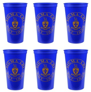 Sigma Chi Set of 6 Big Plastic Stadium Cups
