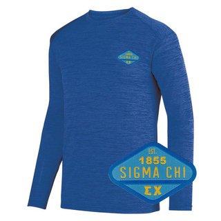 DISCOUNT-Sigma Chi Woven Emblem Greek Dry Fit Tonal Long Sleeve Tee