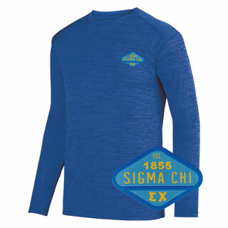 DISCOUNT-Sigma Chi Woven Emblem Greek Dry Fit Tonal Long Sleeve Tee