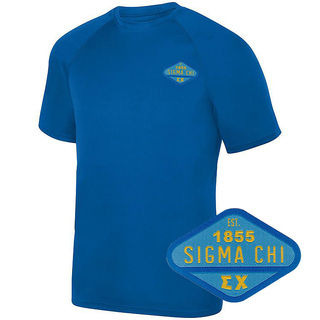 DISCOUNT-Sigma Chi Woven Emblem Greek Dry Fit Wicking Tee
