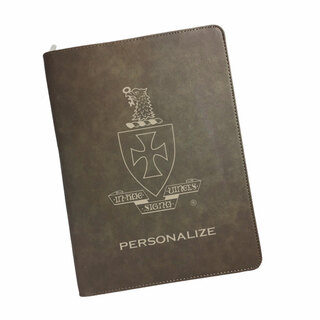 Sigma Chi Zipper Leatherette Portfolio with Notepad