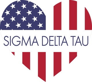 Sigma Delta Tau American Flag Greek Heart Shaped Decal