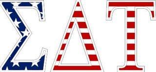 "Sigma Delta Tau American Flag Greek Letter Sticker - 2.5"" Tall"