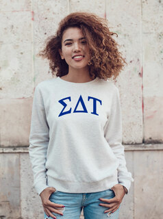 Sigma Delta Tau Arched Greek Lettered Crewneck Sweatshirt