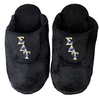 DISCOUNT-Sigma Delta Tau Black Solid Letter Slipper