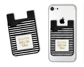 Sigma Delta Tau Gold Stripes Caddy Phone Wallet