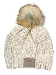 Sigma Delta Tau CC Beanie with Faux Fur Pom