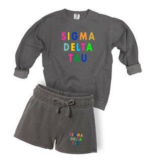 Sigma Delta Tau Comfort Colors Crew and Short Set