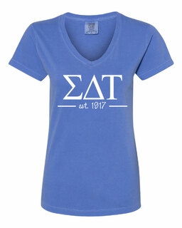 Sigma Delta Tau Comfort Colors Custom V-Neck T-Shirt