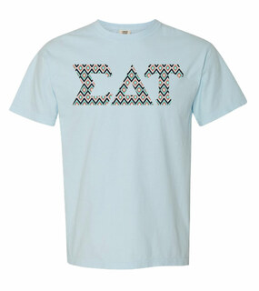 Sigma Delta Tau Comfort Colors Lettered Greek Short Sleeve T-Shirt