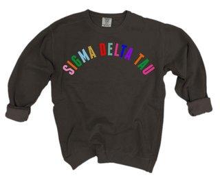 Sigma Delta Tau Comfort Colors Rainbow Arch Crew