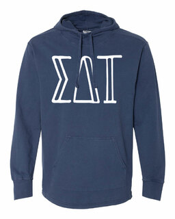 Sigma Delta Tau Comfort Colors - Terry Scuba Neck Greek Hooded Pullover