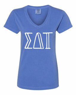 Sigma Delta Tau Comfort Colors V-Neck T-Shirt