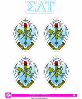Sigma Delta Tau Crest Sticker Sheet